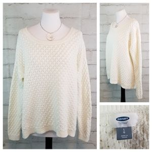 Old Navy L White Long Sleeve Knit Hi-Low Sweater